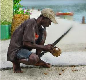 Abriendo cocos