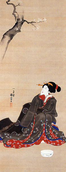 Kuniyoshi_Utagawa_Woman_seated_under_a_cherry_blossoms